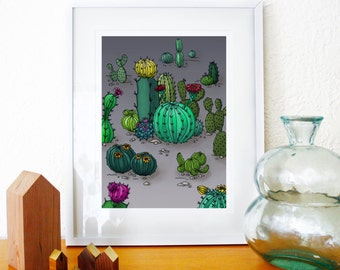 Cacti desert Illustration giclee Art Print hand signed and dated printed on archival paper with archival inks