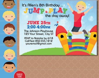 Bounce House Party Invitation - Inflatable Birthday Invitation - Bouncing Bounce printable - Jump Birthday Party - Boy Birthday Invitation