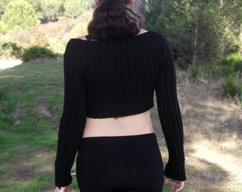 Knit long sleeve crop top Black sweater Knitted shrug