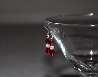 Red Swarvoski Crystal Earrings
