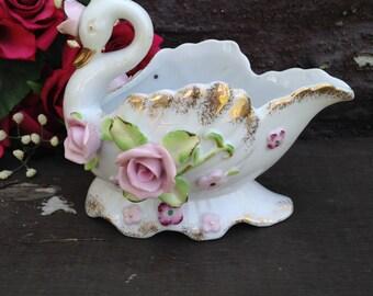 Porcelain Swan Dish, Swan Figurine, Roses Gold Gilt, Swan Trinket Dish, Dresser Vanity Decor, Hollywood Regency