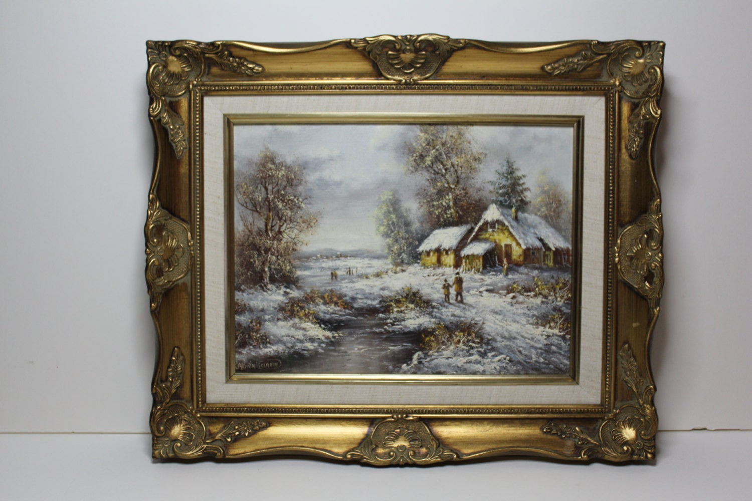 Original oil canvas painting albrecht brinkmann beverly hills for A mural is painted on a