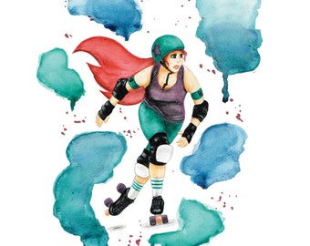 The Mermaid - poster A3 - Roller Derby