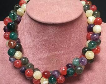 Bubble Gum Necklace/Multi Color Beaded Necklace/Multi Color Beaded Cluster Necklace/Birthday/Mother's Day/Multi-Color Necklace