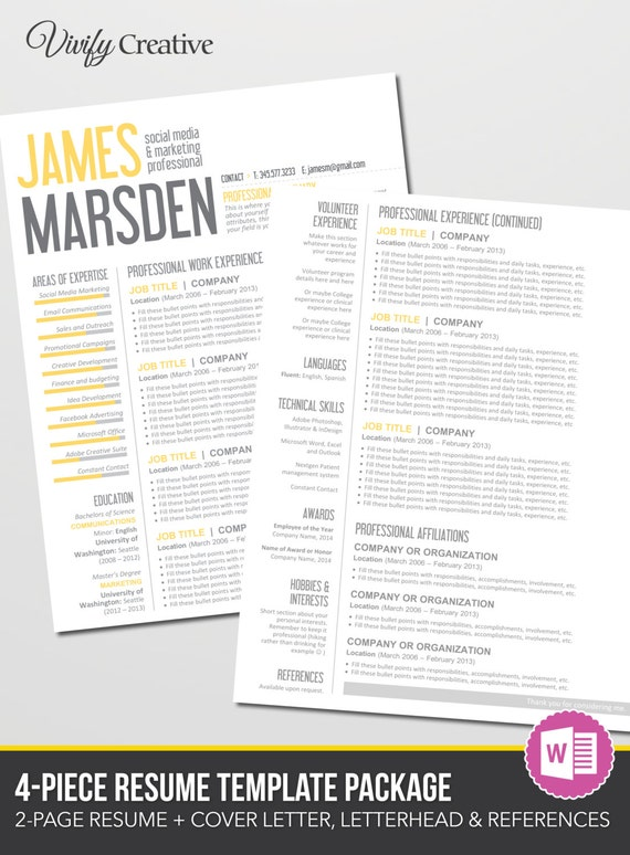 pages resume templates resume template 2 page editable pages by 23881 | il 570xN.756445316 d3eg