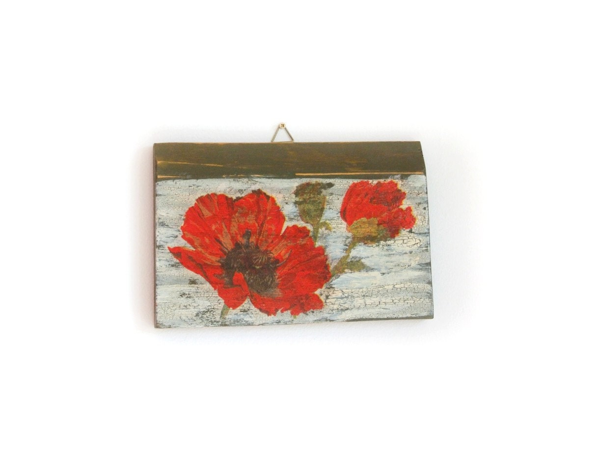 Red Poppy Wall Decor Rustic Decor Red Flower Wall Hanging