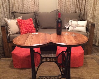 double wine barrel head antique singer sewing machine table - Kitchen Table Sewing