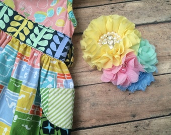 Matilda Jane M2M headband or clip Wonderful Parade Little Lemon Bubble and Lemonade Trellis