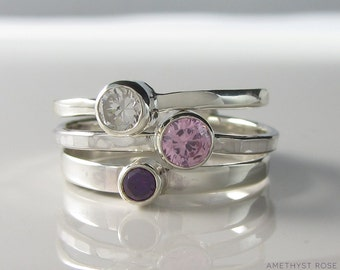 Stacking Ring ~ Cubic Zirconia & Sterling Silver Ring (each)