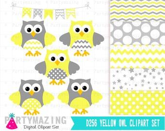 Yellow Owl Clipart Set, Grey Chevron, Baby Shower Set, Cute Nursery, Clip art Set with Digital Paper Pack, Chevron and Polka dot Owl -D256