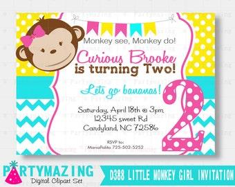 Girl Monkey Invitation, Mod Monkey Printable invitation, Girl Birthday Invitation, Girl Monkey Collection D387