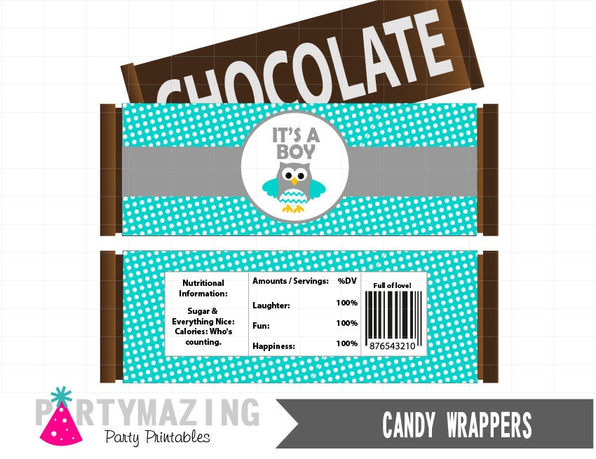 owl baby shower printable candy wrappers owl by partymazing