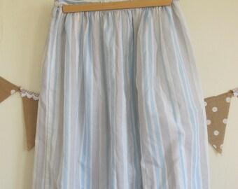 Blue Stripe Cotton A-Line Skirt
