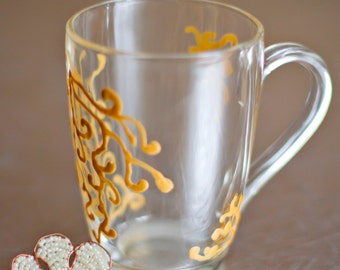 Hand painted mug with abstract flower draw. stained-glass effect cup. Inspiration kitchen decor. Engagement gifts. See-through mug.