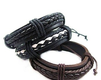 Men's Leather Bracelet Women's Leather Bracelet Braided Friendship Braclet Leather and Hemp   BST-157