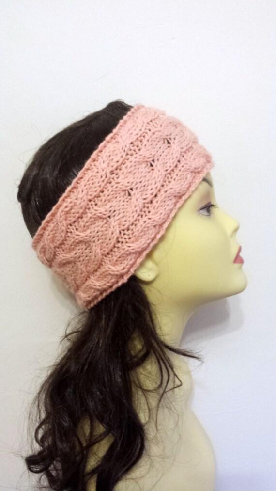 Peach Hand Knitted Headband, Hair Accessories, peach knitted headband, cable knit salmon hairband, women knitted headband, winter accessory