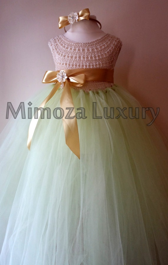 Mint Ivory Flower girl dress, tutu dress, bridesmaid dress, princess dress, mint crochet top tulle dress, knit tutu dress mint ivory gold