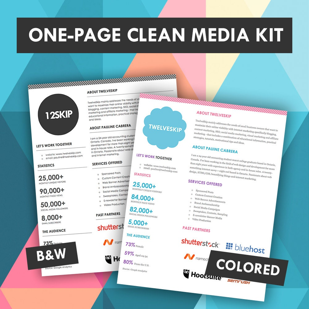Quick one page media kit template press kit media kit for Advertising media kit template