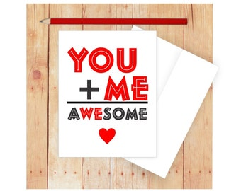 Valentine Card, Romantic Card, Heart Card, You Plus Me Equals Awesome Card, Valentine Card for Him, Valentine Card for Her