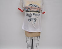 vintage tshirt AIRBRUSHED air brushed soft thin t-shirt 1980s  oversized boyfriend fit 1960 plymouth savoy lowell