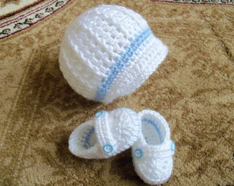 New Handmade Crochet White Baby Hat and Booties (0-3 month)