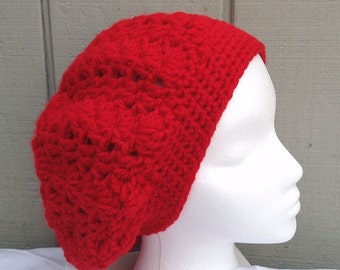 Slouchy crochet red beanie - Chunky slouchy hat - Red chunky hat - Womens hat - Teens accessories