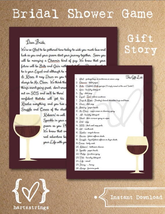 Bridal Shower Game Gift Story Wine Theme By Hartzstrings