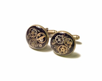 As Seen at GBK's 2015 MTV Movie Awards Gunmetal Brass Silver Rose Gold Steampunk Cufflinks w/ real recycled watch Groomsmen Groom Father
