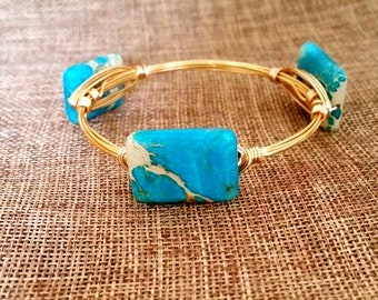 Turquoise/Neutral Rectangle Stone Wire Wrapped Bangle