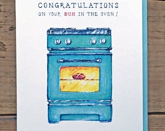 New Baby Card // New Baby Announcement // Buns in the Oven //  Congratulations Card // Congratulations on your bun in the Oven