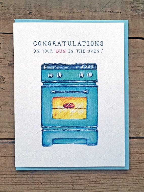 New Baby Card New Baby Announcement Buns in the Oven – Bun in the Oven Baby Announcement