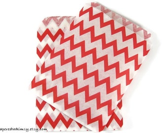 25 Red Chevron Paper Bags | Chevron Party Bag | Red Chevron Paper Bag | Red Party Bag | Party Favor Bag | Red Paper Bag