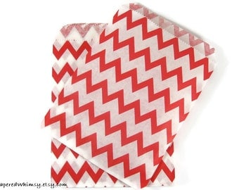 50 Red Chevron Paper Bags | Chevron Party Bag | Red Chevron Paper Bag | Red Party Bag | Party Favor Bag | Red Paper Bag