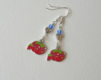 Pincushion Charm Earrings, Red, Green, Heart, Czech Glass, Charms