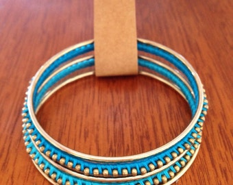 Blue and Gold Wrapped Bangle Set
