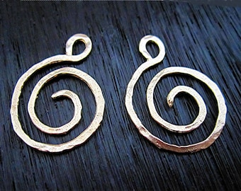 Artisan Gold Bronze Swirl and Spiral Clasp and Earring Charm (set of 2) (N)