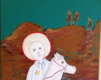 NEW SHERIFF in TOWN, original pencil/acrylic on canvas. 25% of sale price to The Gentle Barn