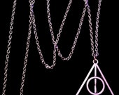 80p UK P&P Handmade Silver Harry Potter Deathly Hallows Symbol Inspired Necklace Pendant with 24inch chain