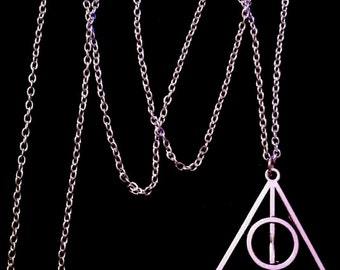 80p UK P&P Handmade Silver Deathly Hallows Symbol Inspired Necklace Pendant with 24inch chain sign