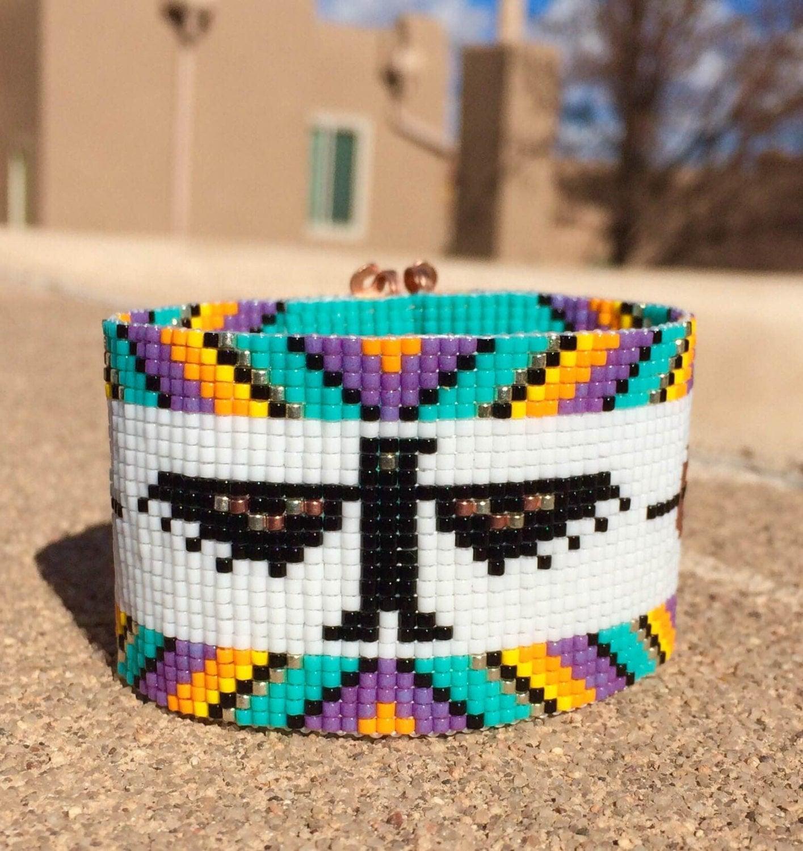 Thunderbird rainbow bead loom bracelet bohemian by puebloandco for Thunderbird jewelry albuquerque new mexico