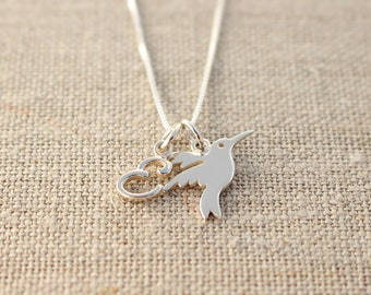 Hummingbird necklace, Sterling silver hummingbird necklace, Initial necklace