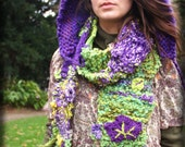 Purple Mauve and green magical fairy enchanted scarf for women knitted with serveral yarns and marple/ ivy crochet leafs leaves