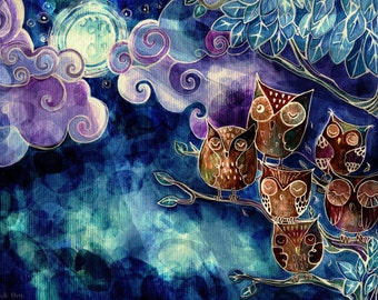 """Digital art print, A3 poster of the colorful painting, illustration, drawing """"Six owls"""" that are waking up by night"""