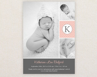 Girls Photo Birth Announcement. Charcoal and Pink. I Customize, You Print.