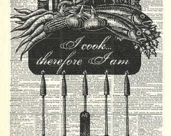 Cooking Utensils kitchen art print. Mothers Day Gift. Dictionary page art print. Print on book page.