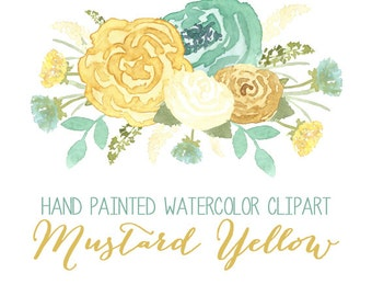 Mustard Yellow Watercolor Flower Clip Art // Commercial Use