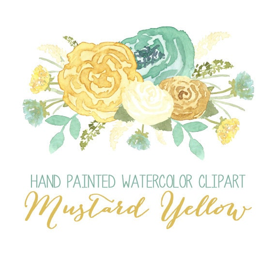 Mustard Yellow Watercolor Flower Clip Art // by intothethicket