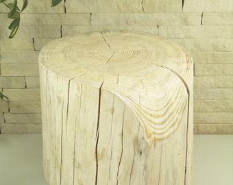 White Tree Stump Table scandi style trunk Wooden Stump table on Rolling Casters baumstamm tisch sgabello ceppo di legno