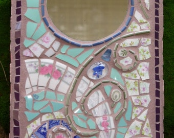Sweet Surprise - Abstract, Pique Assiette, Mosaic Mermaid Art Mirror - Decorative Wall Hanging - Ceramic & Glass - Shabby Chic Style - OOAK