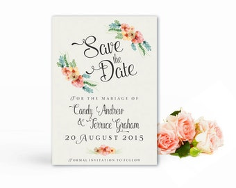 Save the date watercolor printable,  Printable Save the date postcard floral watercolor,  Floral wedding, The Beth collection